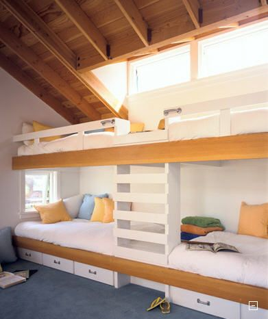 bunk beds for four, even teens would like this I think. The window above really helps it feel open.