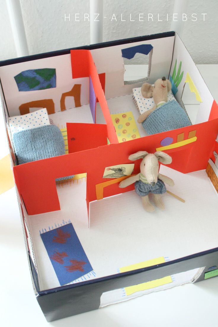 For Chelsea - winter activity....her cute little French stuffed animal mouse...DIY shoebox Mouse House