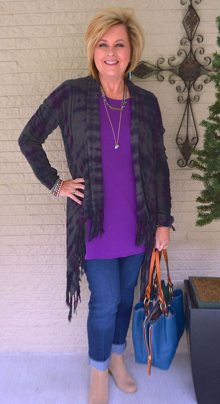 50 IS NOT OLD | PURPLE AND TURQUOISE | Fringe | Duster | Fashion over 40 for the everyday woman
