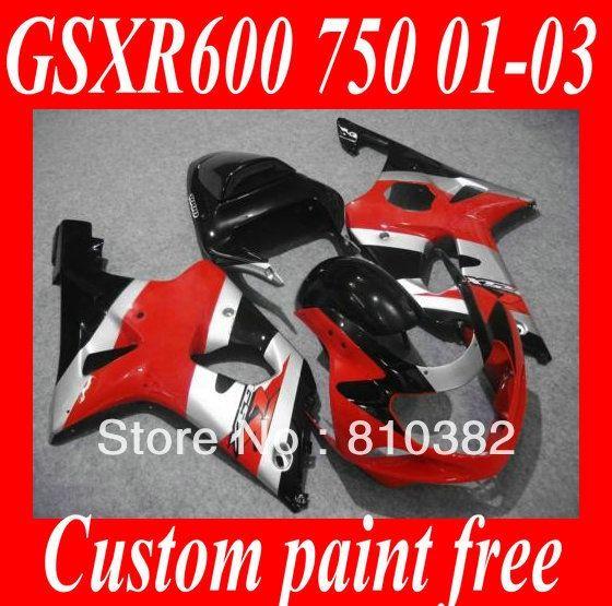 352.47$  Watch now - http://ali8s3.worldwells.pw/go.php?t=1598787202 - Hot Sale! Fairing kit for SUZUKI GSXR600 750 01 02 03 GSXR 600 GSX-R750 K1 2003 2001 2002 Red silver black Fairings set SM47 352.47$