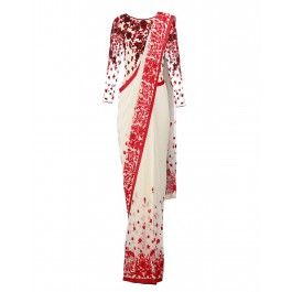Ivory Sari with Vermilion Red Floral Border