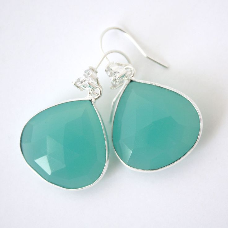 Aqua Stella Earrings. Aqua chalcedony droplets with a cluster of starry diamontes.