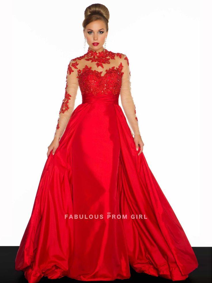 A-line High Neck  Lace Long Sleeves Floor-length Taffeta Prom Dresses / Evening Dresses
