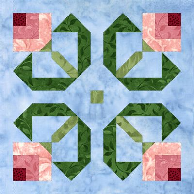 Block 1 Log Cabin Tulip Mystery Block of the Month