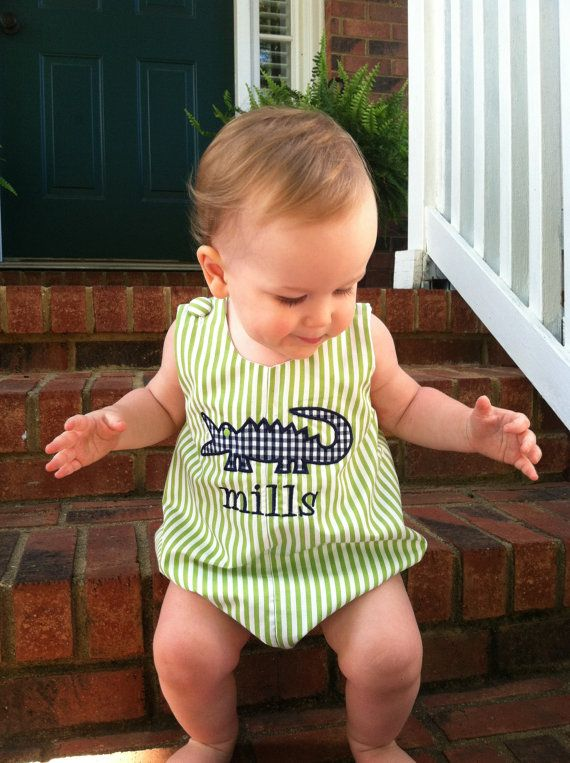 Personalized Baby Boys Alligator Bubble Romper OR Shortall/Jon Jon, Green and Navy, 3 months to 3T-- for eventually!