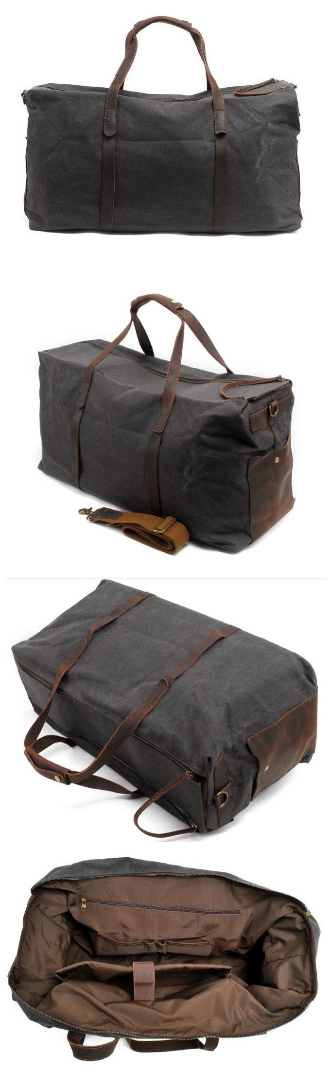Handmade Waxed Canvas Leather Travel Bag Luggage Weekender Bag Features: • Fabric Lining • Inside zipper pocket • It can hold a 17'' laptop, iPad, A4 document files, magazines, etc. ******************
