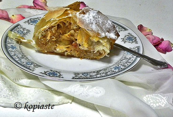 An Apple Strudel made with leftover phyllo and a not so traditional filling.  #apple_streudel #apples #Austria #leftovers