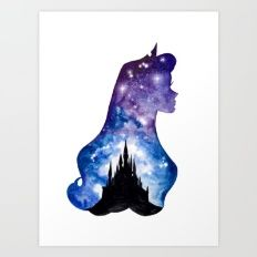 Art Print featuring Sleeping Beauty Double Exposure by Ahmad Illustrations