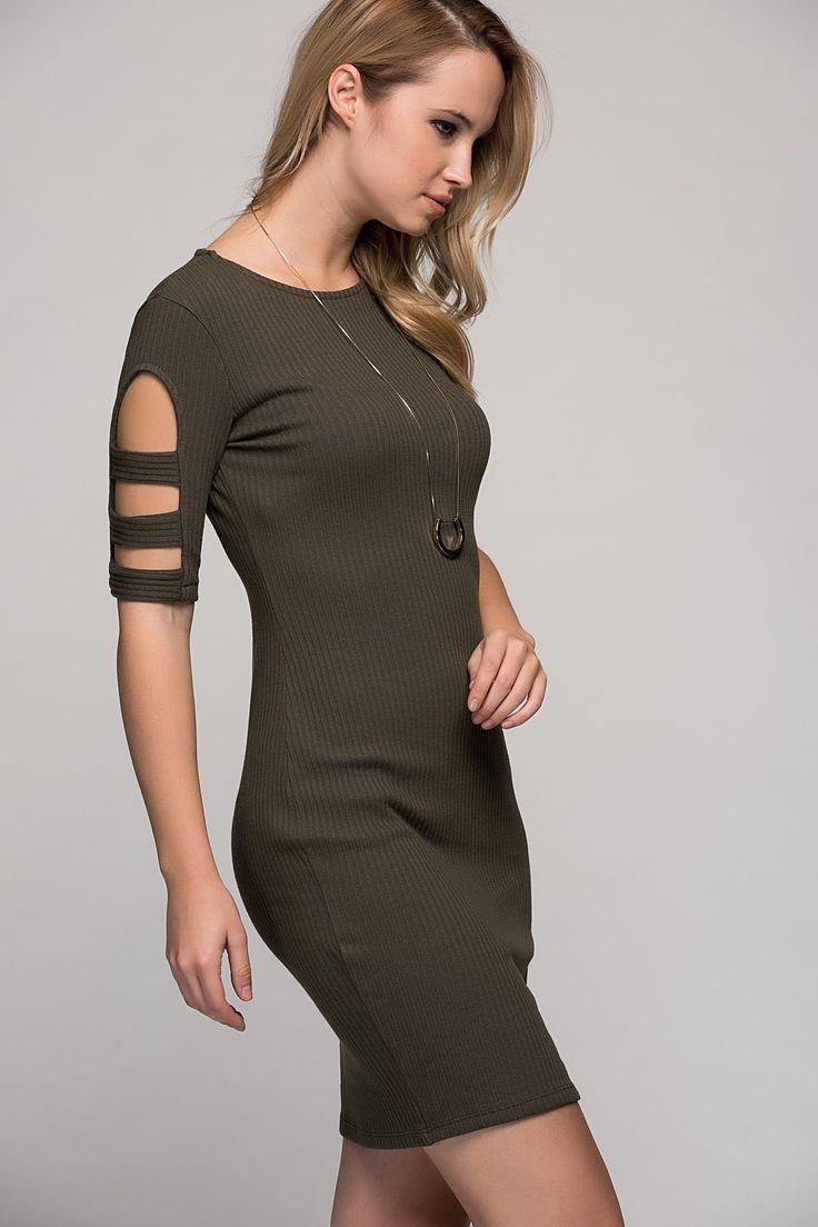Kadın Haki Kolları Şerit Dekolteli Yarım Kol Elbise S-17Y0050001 Size Özel Saygı | Trendyol