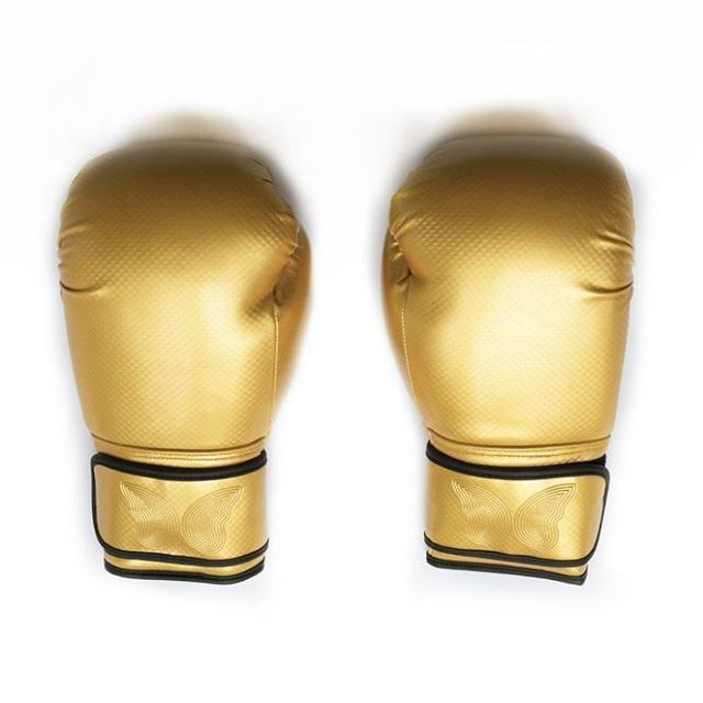 Gold boxing gloves, women's gold boxing gloves, female gold boxing gloves. Available from www.mymantraactive.com