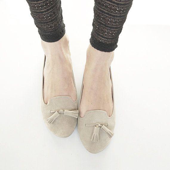 The Monochrome Loafers Shoes  Handmade Sand Soft by elehandmade, $165.00