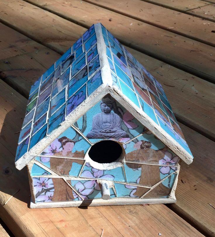 Asian Lovers, Asian birdhouse, Mosaic birdhouse, mixed media birdhouse by JayKayBeecreations on Etsy https://www.etsy.com/listing/558037249/asian-lovers-asian-birdhouse-mosaic