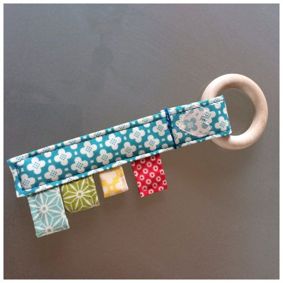 Fabric Teething Toy with Tags and Wooden ring. New MadHabit project!