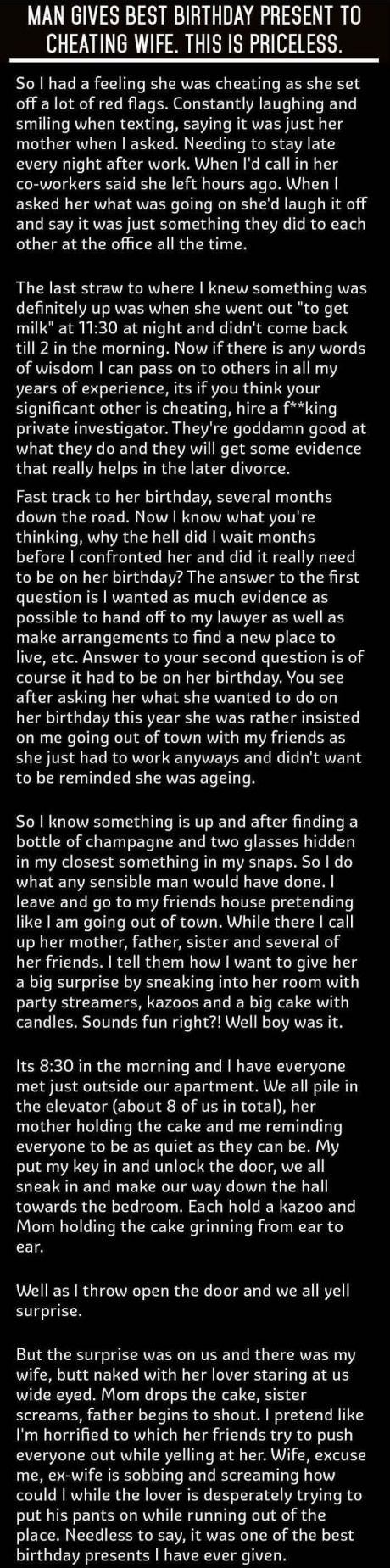 Birthday surprise to cheating spouse