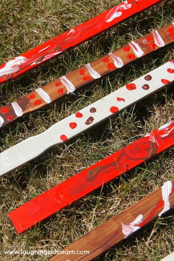 DIY homemade Aboriginal clapping sticks for Australia Day