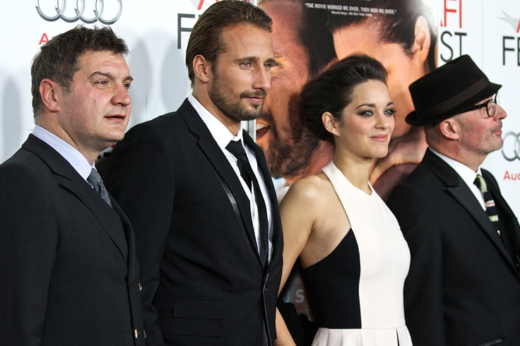 Writer Thomas Bidegain, actors Matthias Schoenaerts, Marion Cotillard and director/co-writer/producer Jacques Audiard at the Gala premiere of RUST AND BONE on Nov. 5, 2012.