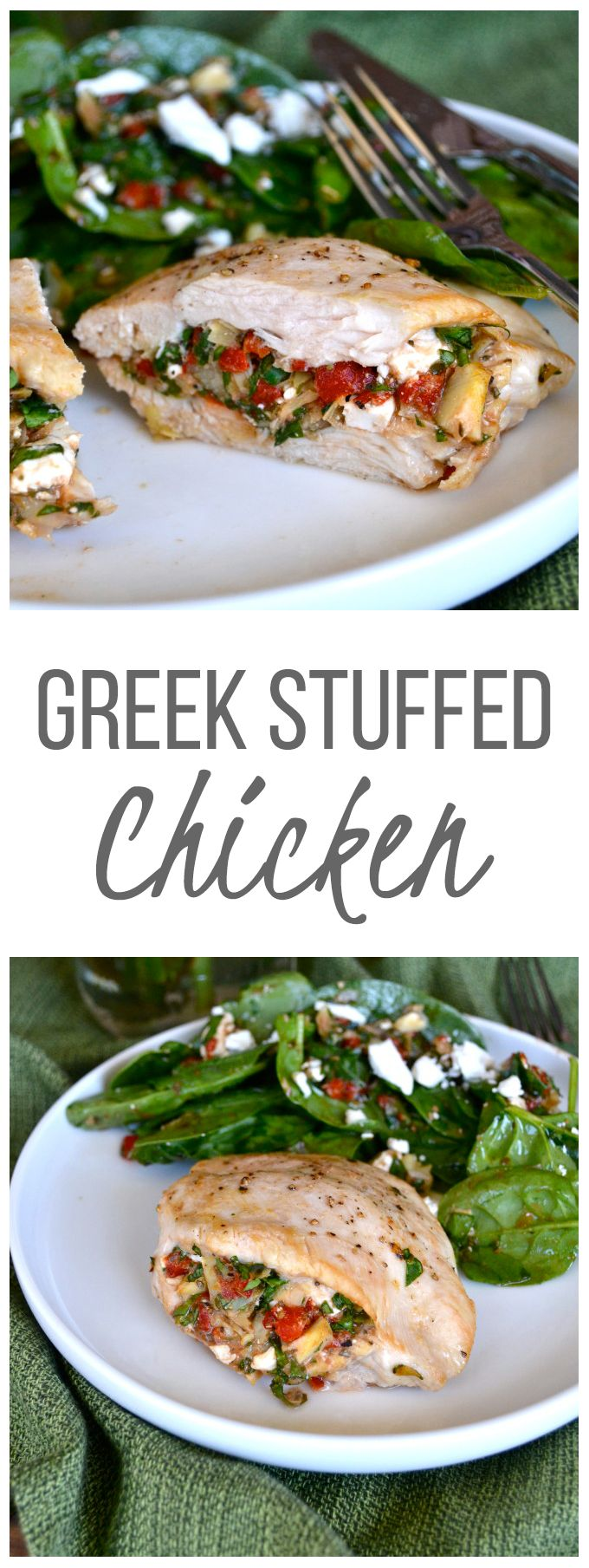 Greek Stuffed Chicken - A great simple chicken breast recipe filled with real food goodness!