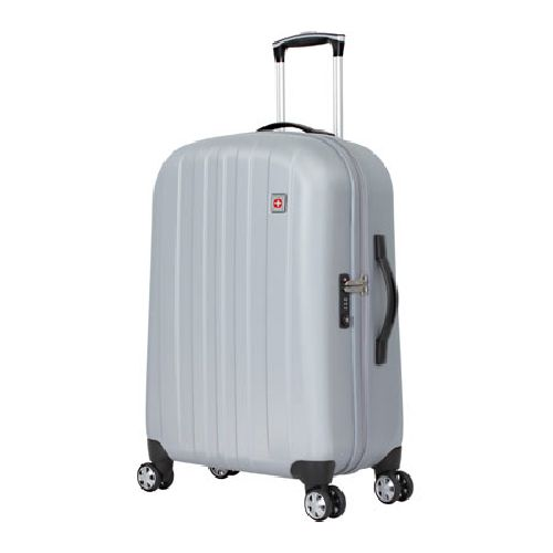 "The 24"" Upright Hardside Spinner has an aluminum locking handle system for the ultimate in lightweight strength and durability. The durable outer shell of this case is molded of lightweight polypropylene and is assembled with eight 360 degree multi-directional wheels for unsurpassed mobility in any direction. More features include molded top and side handles that provides comfort, function and durability, integrated TSA approved lock featuring a three digit combination for protection and…"