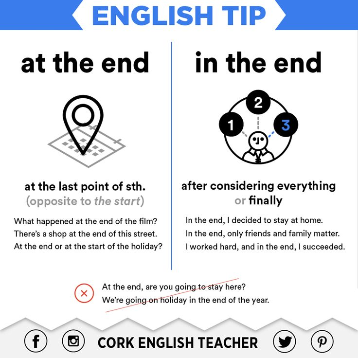English Tip: at the end / in the end Repinned by Chesapeake College Adult Ed. Free classes on the Eastern Shore of MD to help you earn your GED - H.S. Diploma or Learn English (ESL). www.Chesapeake.edu