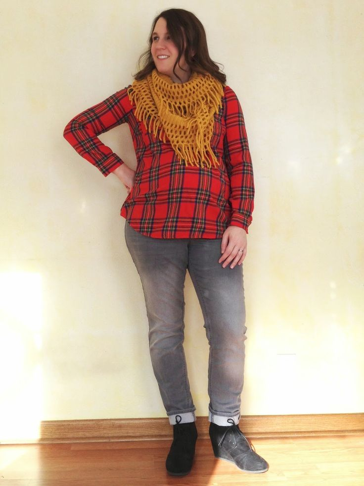 bybmg: Plaid top, mustard scarf, gray jeans, and booties #maternitystyle
