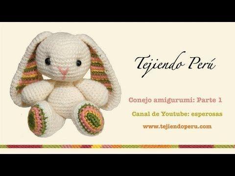 Visita mi página: http://www.tejiendoperu.com/ y encontrarás muchos tutoriales más! Lindo conejito de Pascua tejido a crochet. (Easter Bunny). Parte 1 de 5