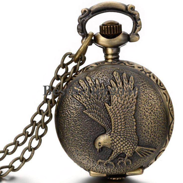 Antique Bronze Eagle Hawk Wing Quartz Pocket Watch Pendant  Mens Womens Necklace #UnbrandedGeneric