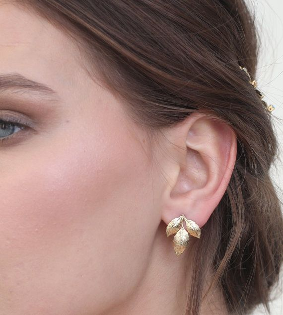 Leaf earrings Gold earrings stud earrings Gold by Ayajewellery