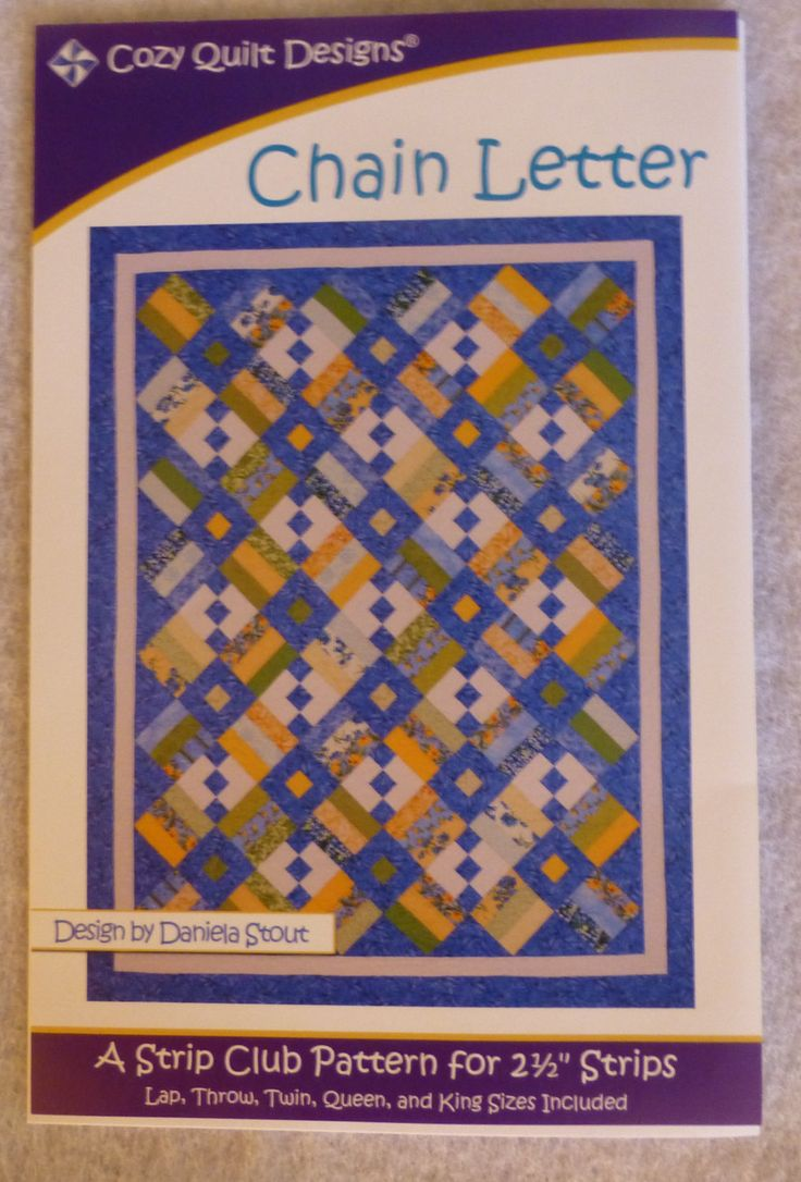 "Pattern, Chain Letter by Cozy Quilt Designs, for 2 1/2"" Strips, Use a Jelly Roll, Strip Tube Ruler, Makes Five Different Quilts"