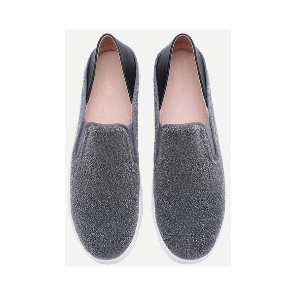 Silver Round Toe Glitter Flatform Sneakers (61 BAM) ❤ liked on Polyvore featuring shoes, sneakers, silver trainers, silver glitter sneakers, flatform shoes, round toe shoes and flatform trainers