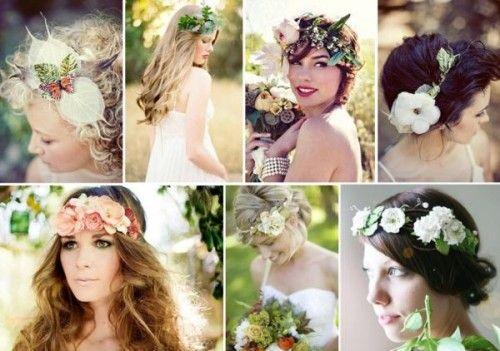 Flower Crowns: A Beautiful & Bohemian Bridal Hair Trend - far right top row