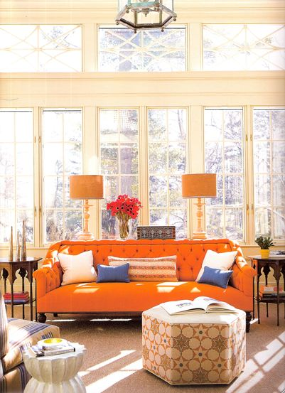 wall of windows, and bright couch: Big Window, Spaces, Side Tables, Orange Couch, Living Rooms, Colors, Interiors Design, Orange Sofas, Sunroom