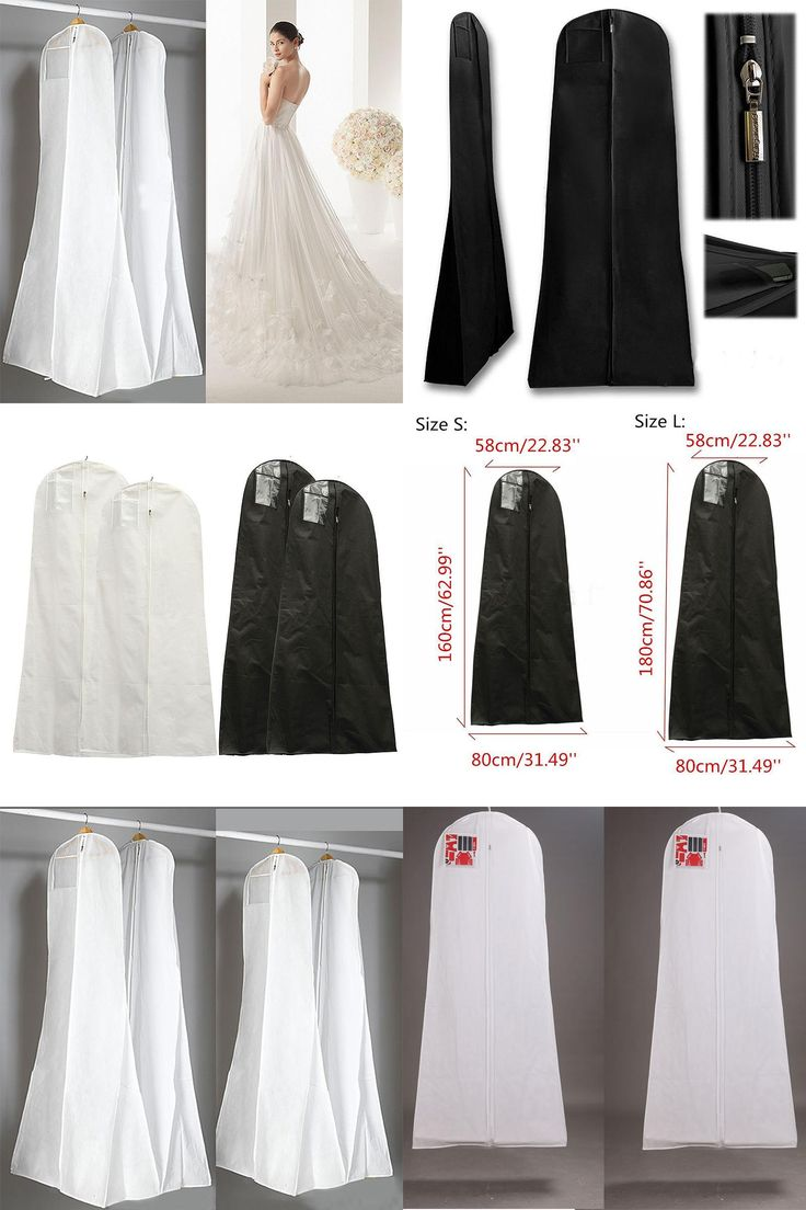 [Visit to Buy]  Black White Wedding Dress Cover Bridal Garment Long Clothes Waterproof Dustproof Storage Bag For Protesting Garment Bag  #Advertisement