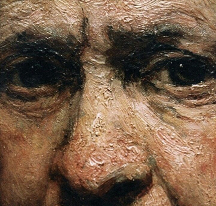 Rembrandt-Close up of one of his many self portraits, notice the texture of the paint.