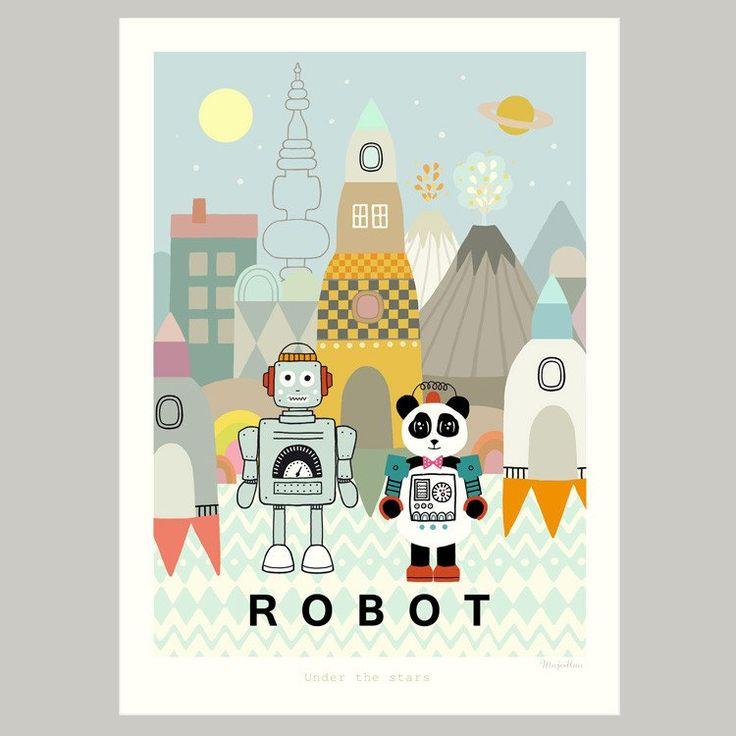 Majvillan ~ Robot poster 50x70 cm - SovrumsShoppen.se