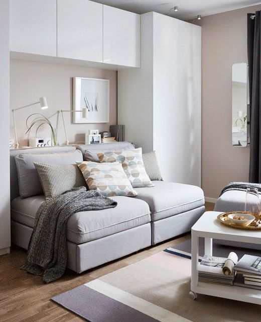 A GIF Shows The Transformation Of A Sofa To Bed In This Combination Living  Room, Guest Bedroom, Office And Dining Room   Great Ideas For Our Basement  Maybe ...