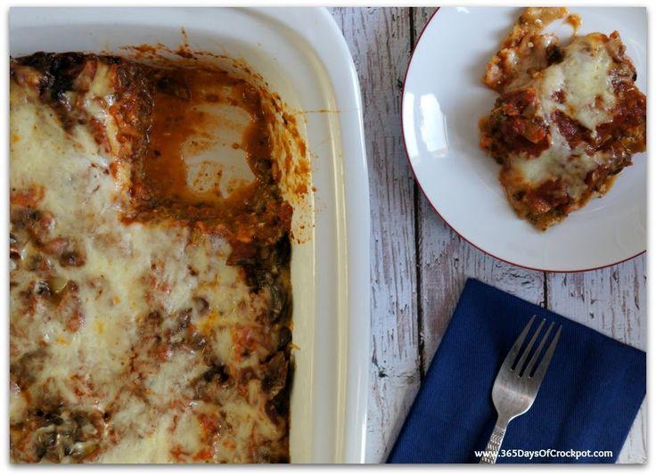 Slow Cooker Recipe for Pesto Mushroom Lasagna