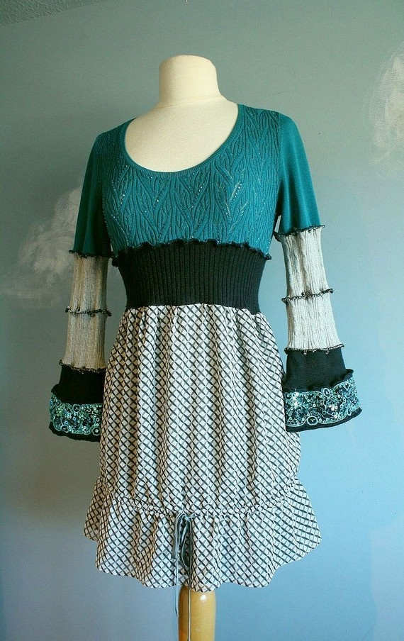 Upcycled sweater dress.