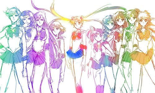 Sailor Senshi / Scouts: Uranus, Neptune, Pluto, Saturn, Sailor Moon, Sailor Mini Moon (Sailor Chibi Moon), Mercury, Mars, Jupiter, and Venus.