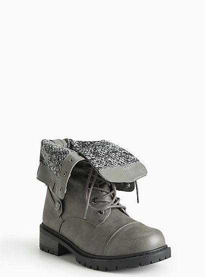 Fold Over Combat Boots (Wide Width)Fold Over Combat Boots (Wide Width), GREY