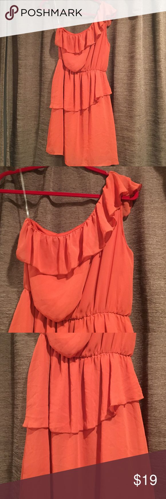 Francesca's Collections Orange ruffle dress Francesca's Collections Orange ruffle dress one shoulder. Never worn. No tags.✨open to offers ✨ Francesca's Collections Dresses Mini