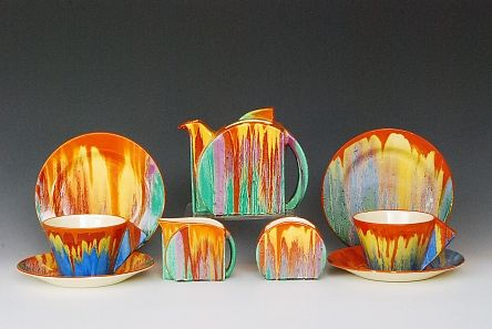 Clarice Cliff - Delecia - A Stamford early morning breakfast set circa 1930 comprising teapot, milk, sugar, two cups, saucers and side plates, all hand decorated with a mixed palette streaked enamel, printed DELECIA and Bizarre mark