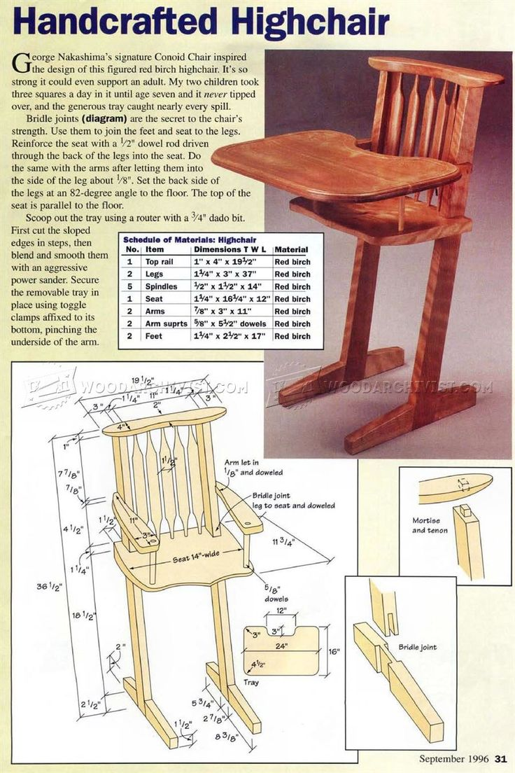 Children's Handcrafted Highchair Plans - Children's Furniture Plans and Projects | WoodArchivist.com