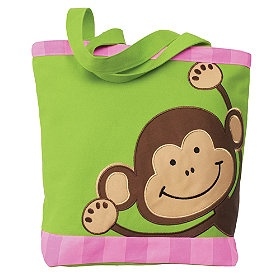 This lively monkey tote will make sure your little ones always have everything they need no matter where they swing to next!