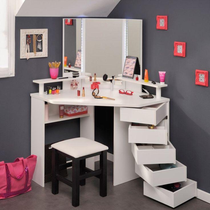 SEA229 - Măsuță albă de toaletă - http://www.emobili.ro/cumpara/sea229-set-masa-alba-toaleta-moderna-cosmetica-machiaj-oglinda-cu-led-961 #eMobili