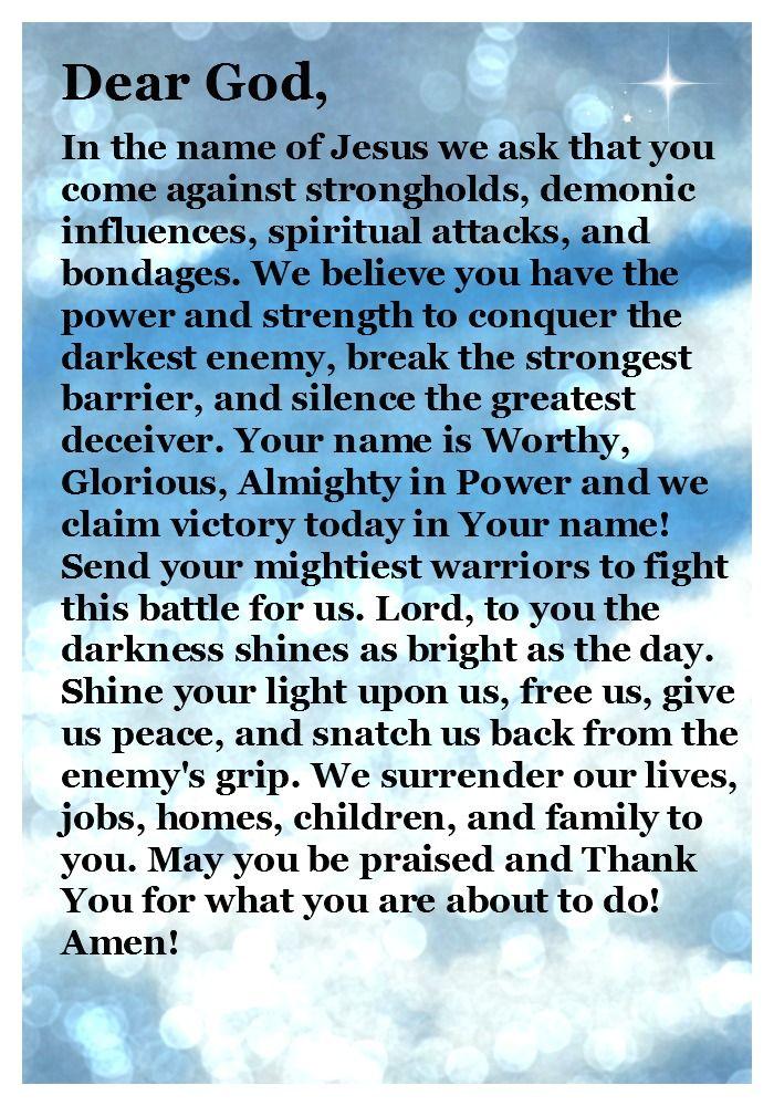 Prayer for Spiritual Warfare......... In Jesus name  Amen