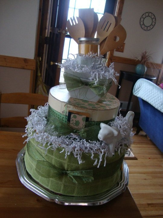 Kitchen themed cake for a wedding shower. Contact on FB at: Devon's Cakes and Crafts