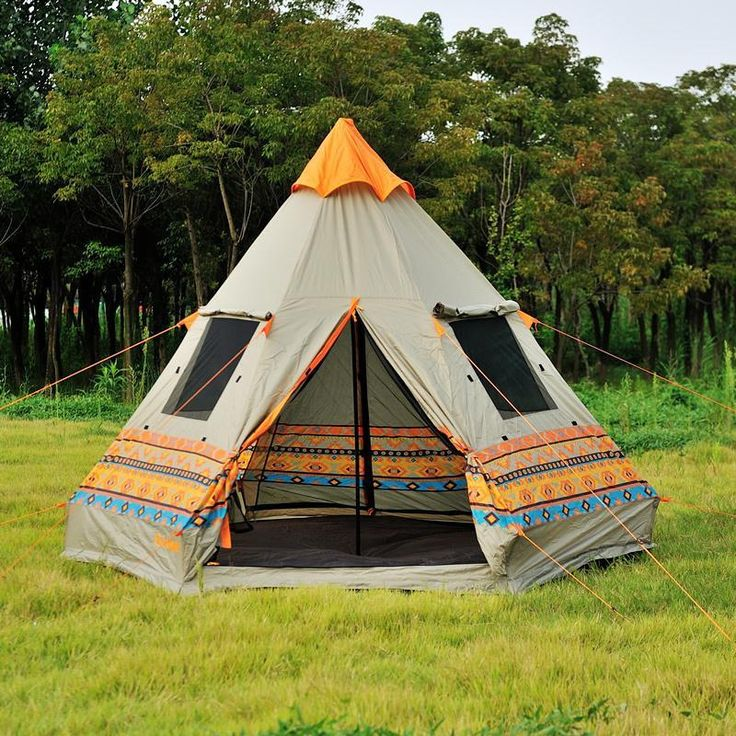Super Cool Authentic Pyramid Teepee 4-Window Large Outdoor High Quality Camping Tent