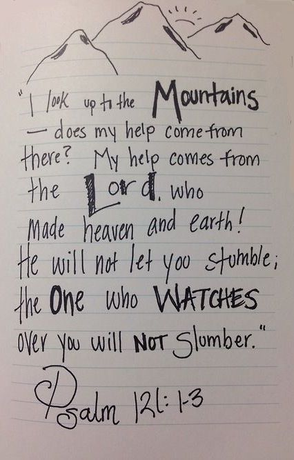 So encourage by this scripture today! :) Psalm 121:1 I lift up my eyes to the mountains— where does my help come from? 2 My help comes from the Lord, the Maker of heaven and earth. 3 He will not let your foot slip— he who watches over you will not slumber; 4 indeed, he who watches over Israel will neither slumber nor sleep. 5 The Lord watches over you— the Lord is your shade at your right hand;.....