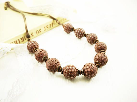 African necklace Polymer clay Bead necklace African jewelry Earthy necklace Polka dot necklace Brown necklace Round beads Ethnic necklace