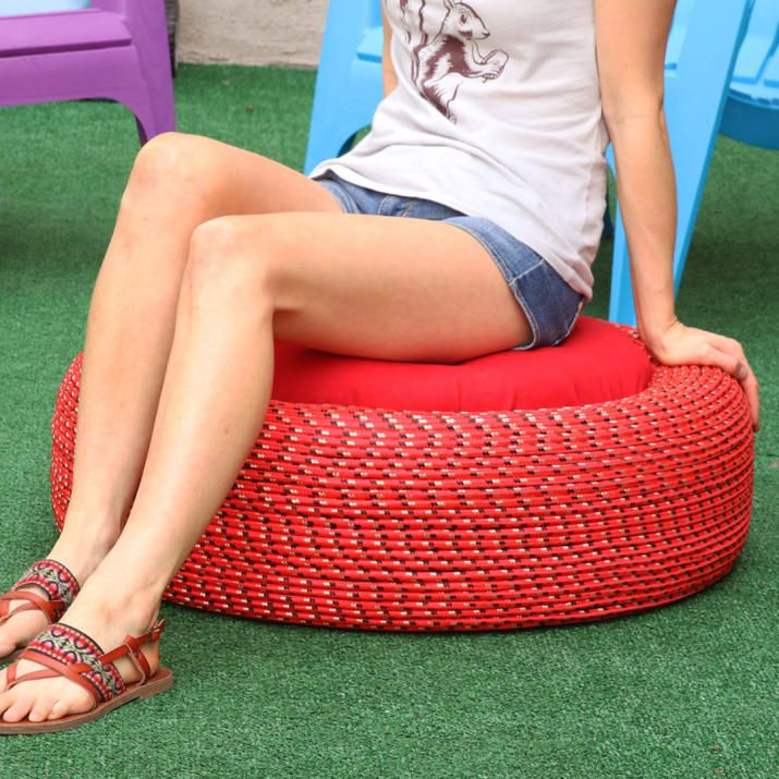 Turn Old Tires Into Colorful Outdoors Storage Seats. Double the tires for a higher seat and paint?